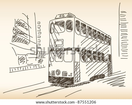 Double deckers tram Hand drawn