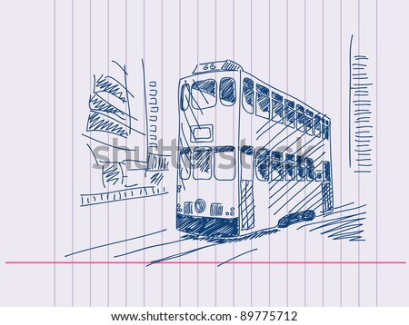 Double deckers tram Hand drawn. Visit my portfolio for huge hand drawn collection