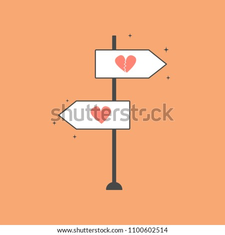 double direction road sign with heart and broken heart. love concept vector illustration