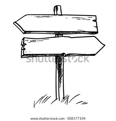 Double direction sign. Hand drawn vector illustration.