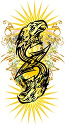 Double eagle head symbol colorful splashes. Double eagle symbol with arrow elements, golden floral motifs, star-shaped sun element for your ideas, prints on T-shirts, textile, wallpaper, etc.