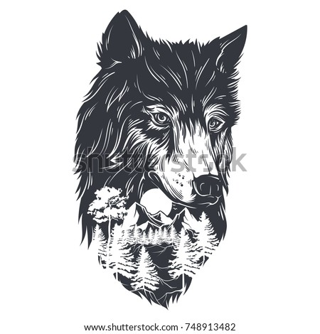double exposure forest and wolf