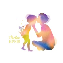 Double exposure illustration. Happy mother kissing her kids silhouette plus abstract water color painted. Happy mother's day. Digital art painting. Vector illustration