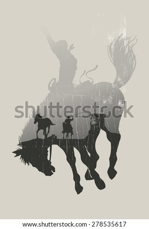 double exposure of cowboy
