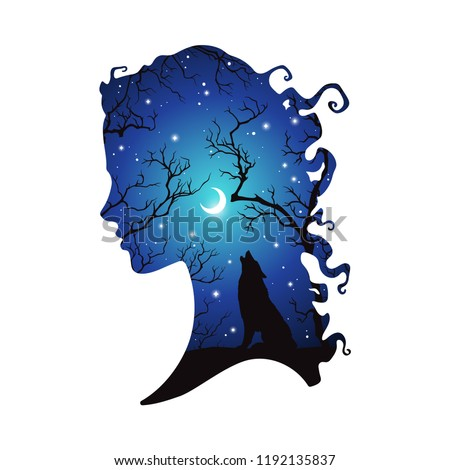 double exposure silhouette of