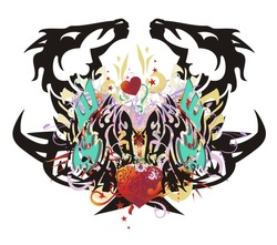 Double fantastic imaginary animal symbol formed by the horse heads  and the heads of an eagle with colorful floral elements, red hearts and arrows, red asterisks