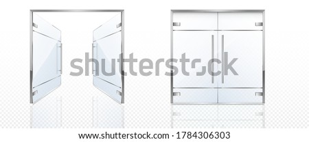 Double glass doors with metal frame and handles. Vector realistic mockup of open and closed doors isolated on transparent background. Glass gate, entrance in store, mall or office