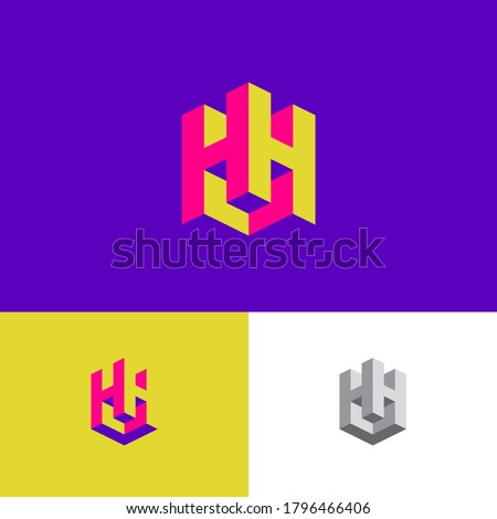 Double H letters as a cube. H and H logo. Construction emblem. 3D monogram. Abstract volume logo. Building or construction logo. Stock fotó ©