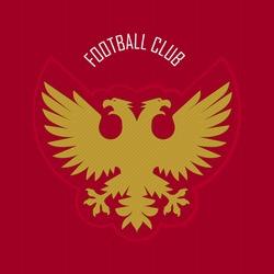 Double head eagle logo for heraldry, soccer, football club. Sport Team Identity. Vector Illustration