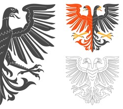 Double Headed Eagle Illustration For Heraldry Or Tattoo Design Isolated On White Background. Heraldic Symbols And Elements