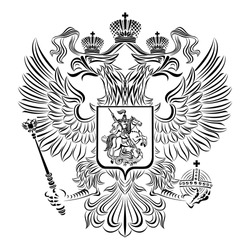 Double-headed eagle of the Russian Federation a black-white