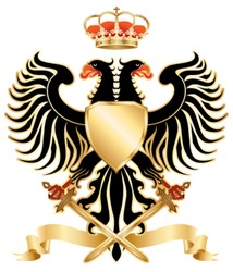 Double-headed eagle with crown and swords. Color vector version.