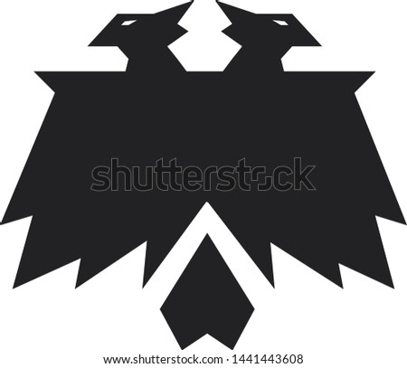 Double headed eagle with two heads heraldic symbol