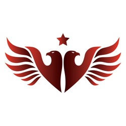 Double headed red eagle with star