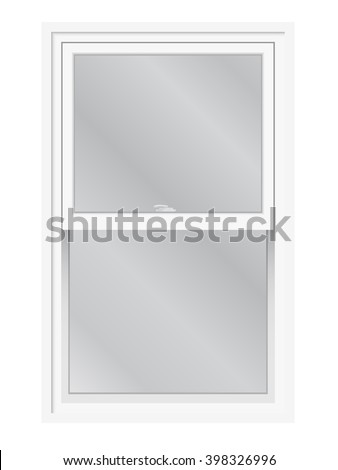 Shutterstock Double hung window vector isolated. Traditional English or American lifting, slider window, exterior view.
