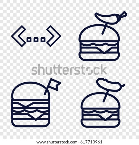 Double icons set. set of 4 double outline icons such as double burger with flag, burger with pepper, burger with sausage