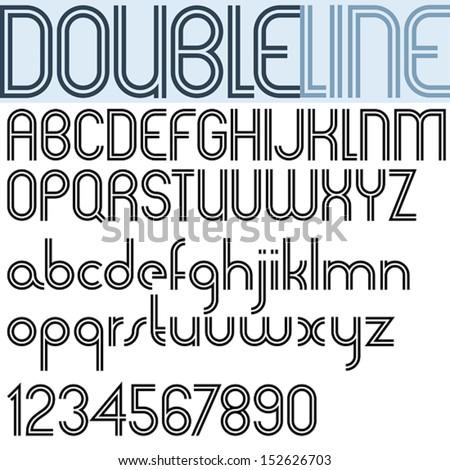 Double Line Retro Style Geometric Font Light Version