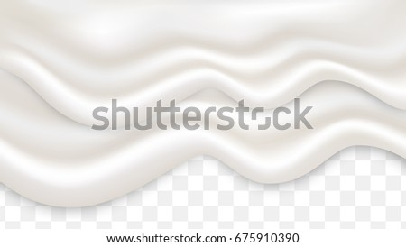 Double liquid creamy white texture flowing on wide background, vector illustration. Frozen yogurt realistic texture.