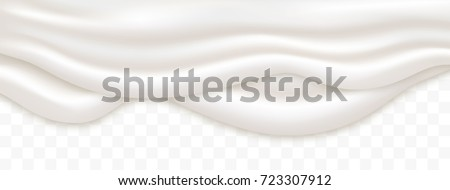 Double liquid creamy white texture flowing on wide background, vector illustration. Yogurt realistic texture layers isolated on transparent background. Liquid cream pouring, yoghurt background.