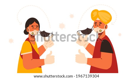Double masking for Covid-19 protection in India. Indian man and woman wearing turban and two protective face mask and medical gloves. KN95 under cloth mask. Coronavirus pandemic. Health protection. Stockfoto ©