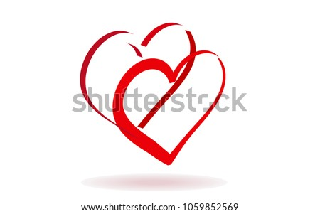 Double of red vector hearts