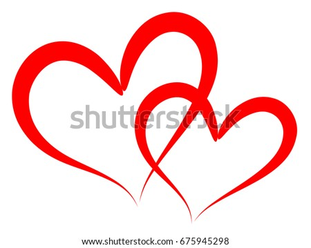 Double of red vector hearts retro styled and stroked by hands with brush for logo, romantic love design, wedding or Valentine's day card