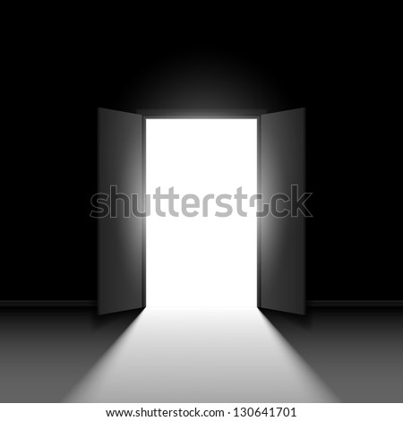 Double open door.  Illustration on black background