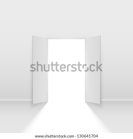 Double open door. Illustration on white background