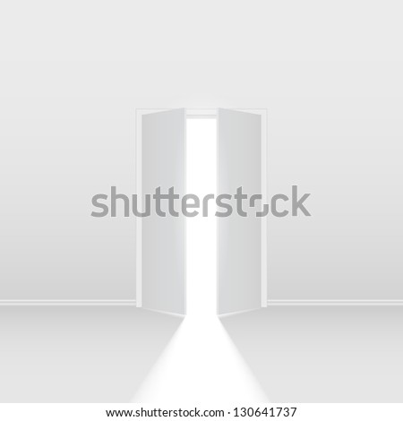 Double open door. Illustration on white background for creative design