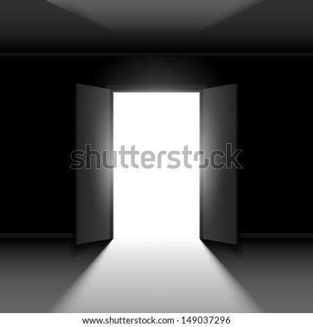 Double Open door with light. Illustration on black empty background