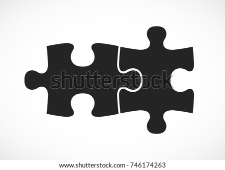 Double piece flat puzzle. Two section compare service banner. Vector illustration
