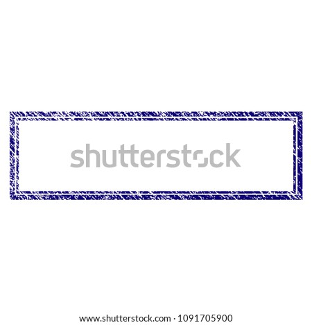Double rectangle frame grunge textured template. Vector draft element with grainy design and dirty texture in blue color. Designed for overlay watermarks and rubber seal imitations.