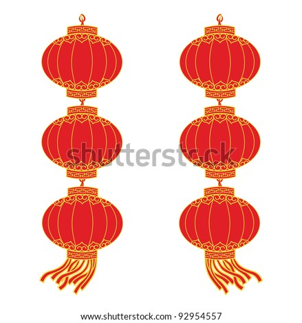 Double red chinese lantern garland