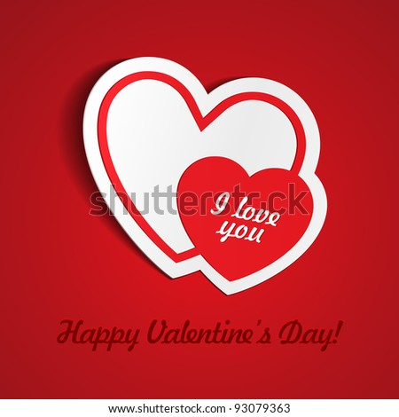 Double Red Heart Paper Sticker With Shadow Valentine's day vector illustration Postcard eps 10