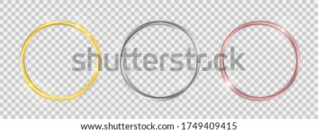 Double round shiny frames with glowing effects. Set of three gold, silver and rose gold double round frames with shadows on transparent background. Vector illustration
