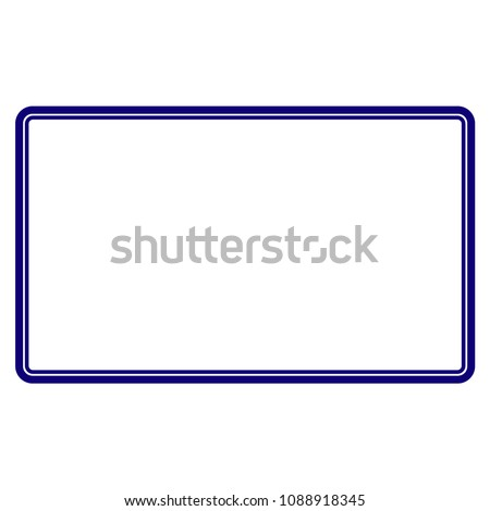 Double rounded rectangle frame template. Vector draft element for stamp seals in blue color.