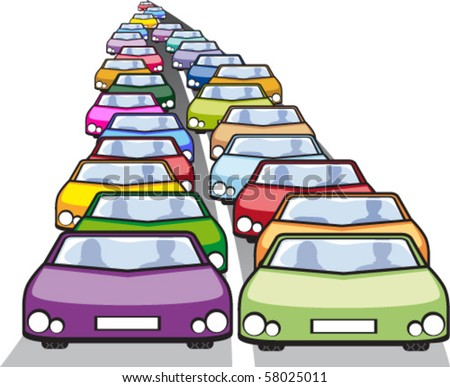 Double row of cars in traffic