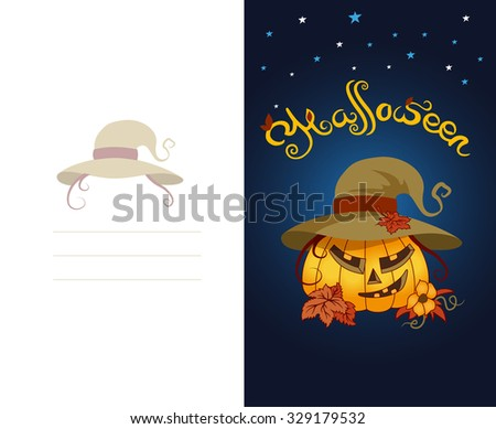 double side postcard halloween