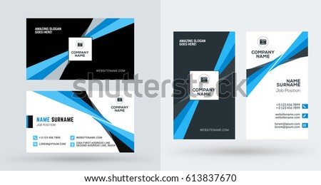 Free stylish blue business card design download free vector art double sided creative business card template portrait and landscape orientation horizontal and vertical reheart Images