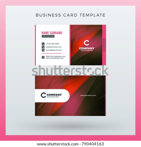 Double-sided horizontal business card template with abstract background. Vector mockup illustration. Stationery design