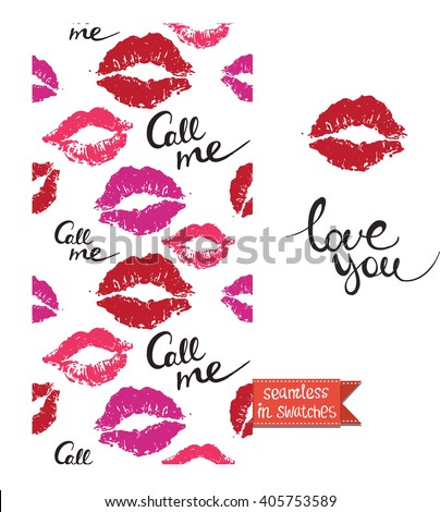 Double sided modern greeting card for hen-party or glamour glossy makeup evening with call me and script seamless pattern background, icon and lettering: love you.