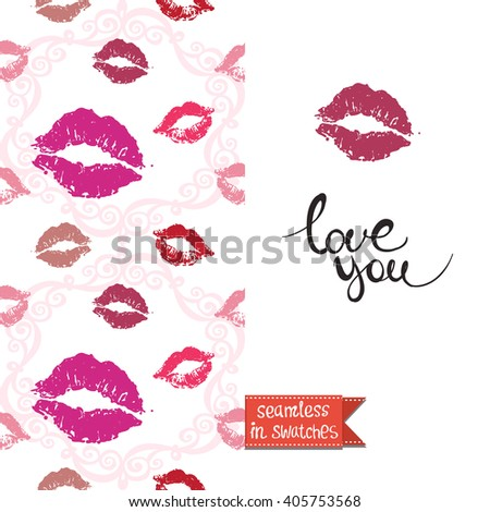 Double sided modern greeting card for hen-party or glamour glossy makeup evening with kiss and lipstick seamless pattern background, icon and lettering: love you.