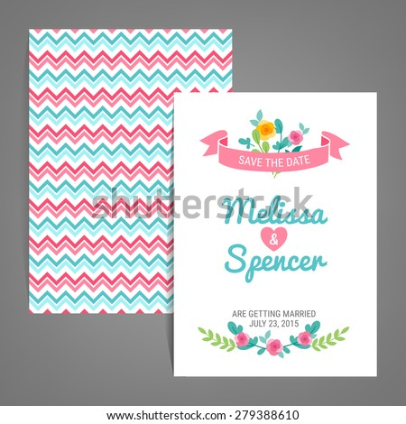 double sided save the date card with chevron background heart