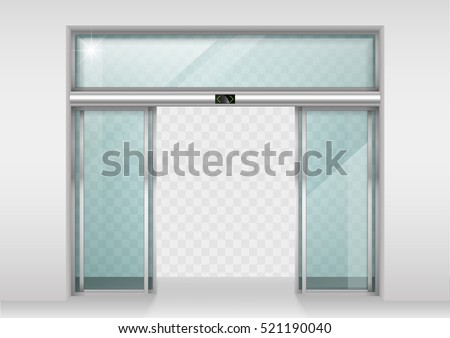 Double sliding glass doors with automatic motion sensor. Entrance to the office, train station, supermarket.