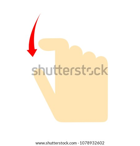 Double tap finger - pointer icon - vector cursor symbol, touch symbol - mouse sign - scroll down
