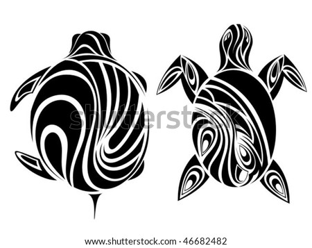 stock vector : Double tribal turtle.Tattoo style