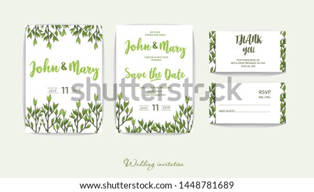 Double wedding invitation with greenery in rustic style. Lightweight design. Green twigs on white background for your holiday. Romantic set for the event. #1448781689