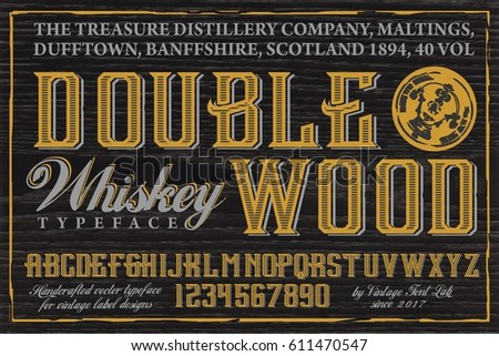 Double Wood - Whiskey Label typeface with simple design sample