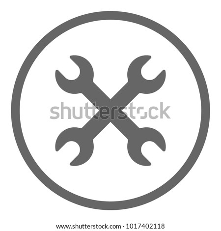 Double wrench icon. Two spanners in circle. Vector.