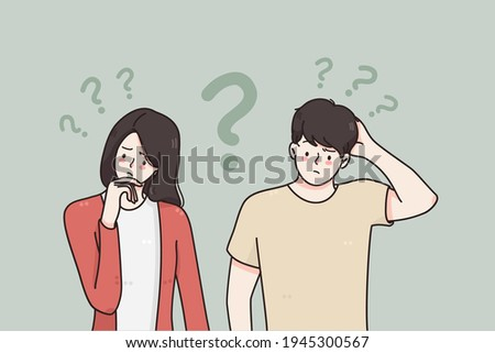 Doubt, asking questions, uncertain concept. Young frustrated couple man and woman standing touching faces feeling doubt with question signs above vector illustration